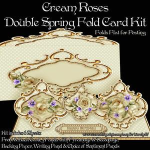 Cream Roses Double Spring Fold Card Kit