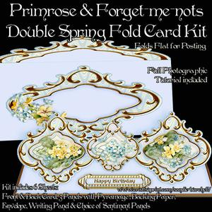 Primrose & Forget-me-nots Double Spring Fold Card Kit