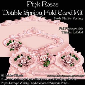 Pink Roses Double Spring Fold Card Kit