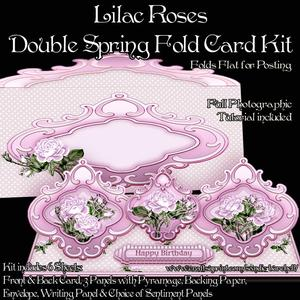 Lilac Roses Double Spring Fold Card Kit