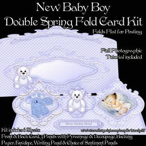 New Baby Boy Double Spring Fold Card Kit