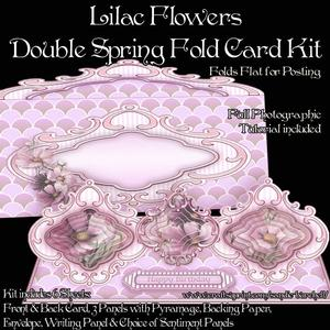 Lilac Flowers Double Spring Fold Card Kit