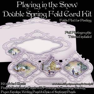 Playing in the Snow Double Spring Fold Card Kit