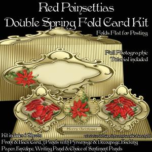 Red Poinsettias Double Spring Fold Card Kit