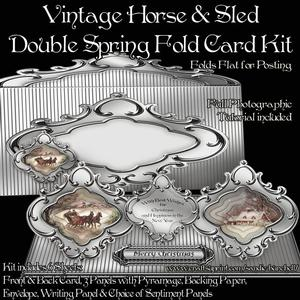 Vintage Horse & Sled Double Spring Fold Card Kit