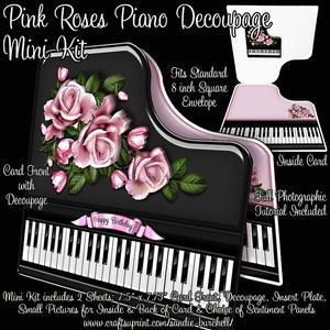 Pink Roses Piano Decoupage Mini Kit
