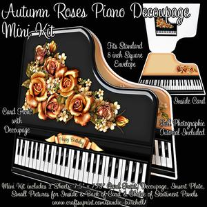Autumn Roses Piano Decoupage Mini Kit