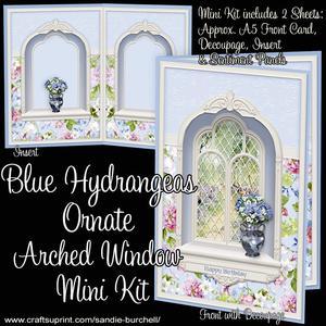 Blue Hydrangeas Ornate Arched Window Mini Kit