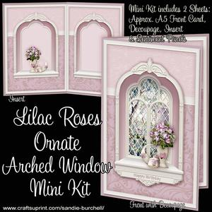 Lilac Roses Ornate Arched Window Mini Kit