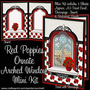 Red Poppies Ornate Arched Window Mini Kit