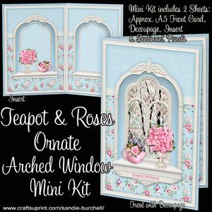 Teapot & Roses Ornate Arched Window Mini Kit