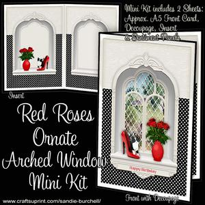 Red Roses Ornate Arched Window Mini Kit