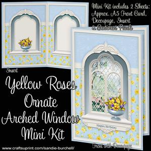 Yellow Roses Ornate Arched Window Mini Kit