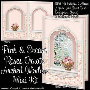 Pink & Cream Roses Ornate Arched Window Mini Kit