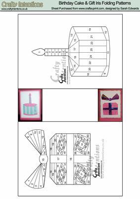 Birthday Cake & Gift Iris Folding Patterns