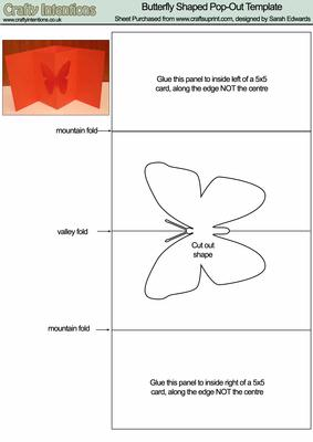 Butterfly Pop-out Card Template - CUP19743_172   Craftsuprint