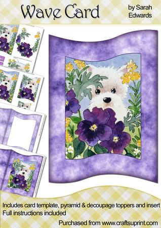 Westie Wit Pansies Wave Card