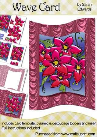 Pink Flowers Wave Card Kit