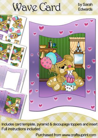 Birthday Teddy Bear Wave Card