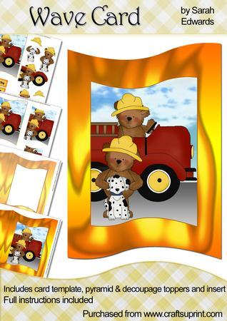 Firemen Teddy Bears Wave Card Kit
