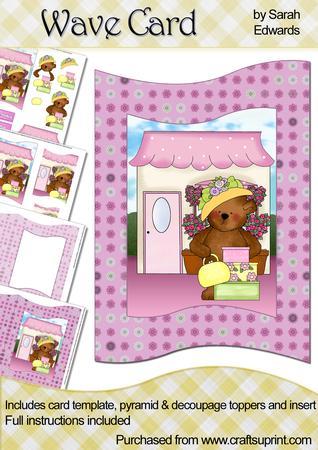 Shopping Teddy Bear Wave Card Kit