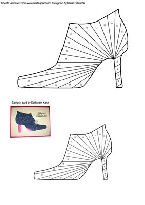 High heeled shoe iris folding pattern cup244721 172 for High heel template for cards