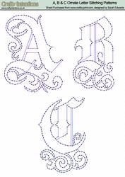 A, B & C Ornate Letter Stitching Patterns