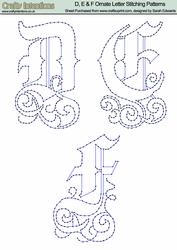 D, E & F Ornate Letter Stitching Patterns