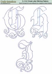 g, H & I Ornate Letter Stitching Patterns