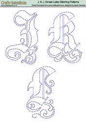 J, K & L Ornate Letter Stitching Patterns