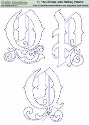 O, P & Q Ornate Letter Stitching Patterns