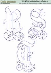 R, S & T Ornate Letter Stitching Patterns