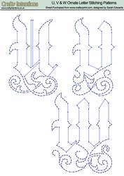 U, V & W Ornate Letter Stitching Patterns