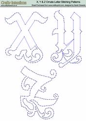 X, Y & Z Ornate Letter Stitching Patterns