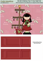 Girl with Christmas Tree V1 Door Gate Fold