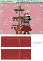 Girl with Christmas Tree V3 Door Gate Fold