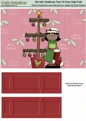 Girl with Christmas Tree V4 Door Gate Fold
