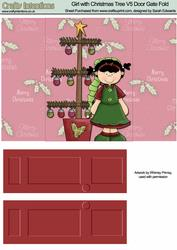 Girl with Christmas Tree V5 Door Gate Fold