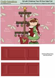 Girl with Christmas Tree V6 Door Gate Fold