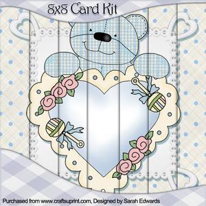 Blue Gingham Bear 8x8 Side Stacker Kit
