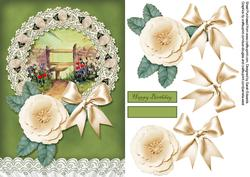 Floral A5 Card with Decoupage