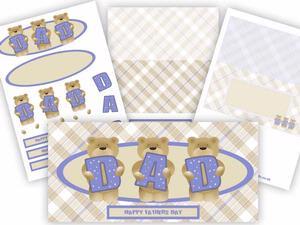 Cute Teddy Dad Birthday / Fathers Day Long Card Kit