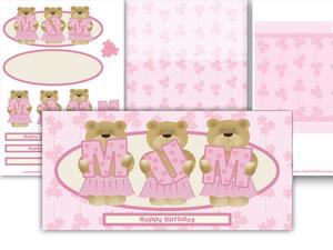 Mum Cute Teddy Birthday / Mothers Day Long Card Kit
