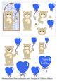 Sweetheart Bears - Birthday Balloons Blue