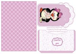 Baby45 Pink Penguin Baby Tag Card Front