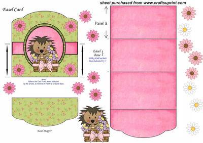 Cute Hedgehog Easel Card 1