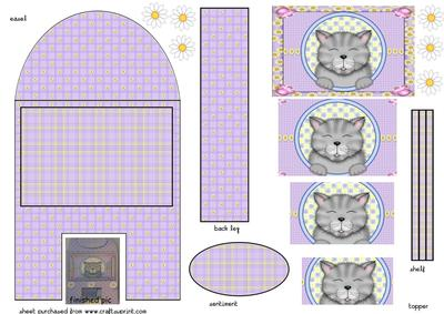 Cute Grey Cat Gallery Easel