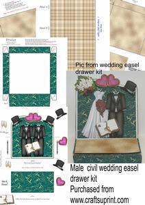 Male Civil Wedding Drawer Easel Card Kit