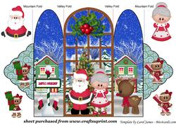 Santas Busy Getting Ready for Christmas Trifold Card