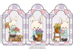 Mama Bunny Loves to Garden Tri Fold Card